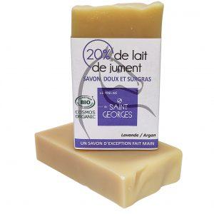 Savon senteur Lavande au lait de jument, saponifié à froid par le prieuré Saint Georges, certifiés COSMEBIO