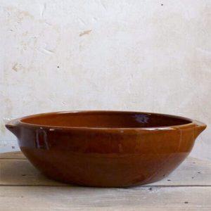 Grand plat creux en grès de Digoin pour cassoulet