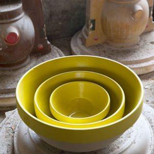 Saladier et bol jaune moutarde fabriqué en france, grès et poterie de Digoin, grand saladier de la manufacture de Digoin