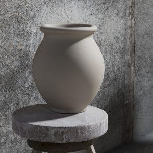 Pot de fleurs original, jarre menton en grès brut de la Manufacture de Digoin, Pot de fleurs géant extérieur