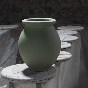 Jarre menton verveine citronnée de 11L et 44L, fabriqué dans les atelier de la Manufacture de Digoin, pot et vase design en grès naturel