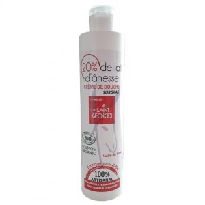 Crème douche senteur rose certifié COSMEBIO au lait d'ânesse, Fabriqué dans le JURA