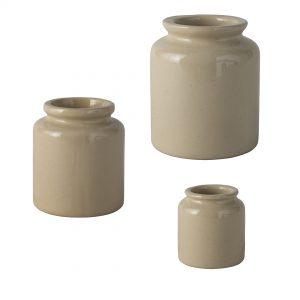 Lot de pot à moutarde à l'ancienne en grès naturel de la Manufacture de Digoin