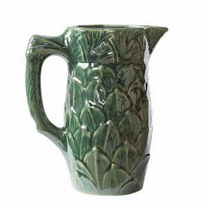 Pichet à eau motifs feuilles 1L en grès naturel de la Manufacture de Digoin et amsamgram.com