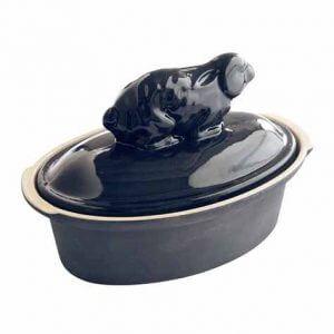 Terrine Lièvre bleu nuit en grès et poterie de Digoin