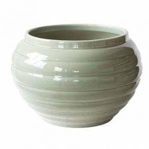 cache pot vert claire de Digoin, Fabriqué en france et vendu sur AMSAMGRAM.COM