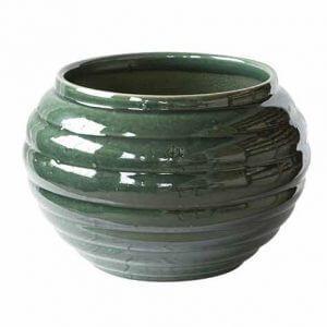 Cache pot vert en grès et poterie de Digoin, cache pot français